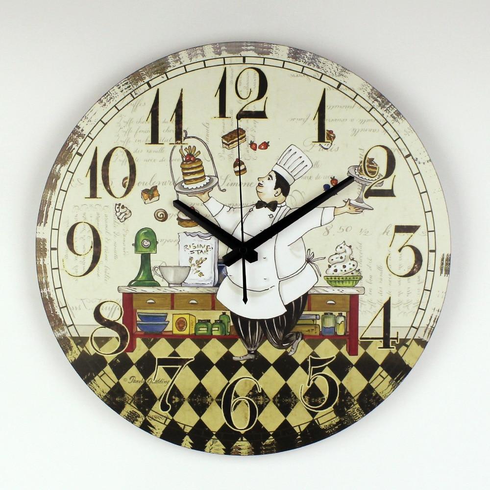€ 14.53 35% de DESCUENTO|Cocina Reloj de Pared de Diseño Moderno Comedor  Decoración de La Pared de Garantía 3 Años de Dibujos Animados Reloj Reloj  Con ...