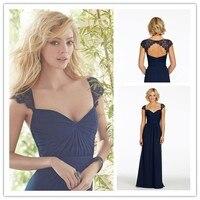 Goedkope Marineblauw Kant Kapmouwtjes Lange Bruidsmeisjekleding 2015 meid van honor jurken met mouwen vestido de festa de casamento