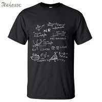 T-Shirt blanc formules mathématiques chemise scientifique hommes 2018 été 100% coton T-shirt homme col rond coupe ajustée T-Shirt mode hommes hauts T-shirt