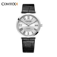 COMTEX vogue Кожаный Ремешок Смотреть Мода Повседневная Мужчины Кварцевые Часы Relojes Hombre. Часы Мужчины Relogio Masculino Наручные Часы