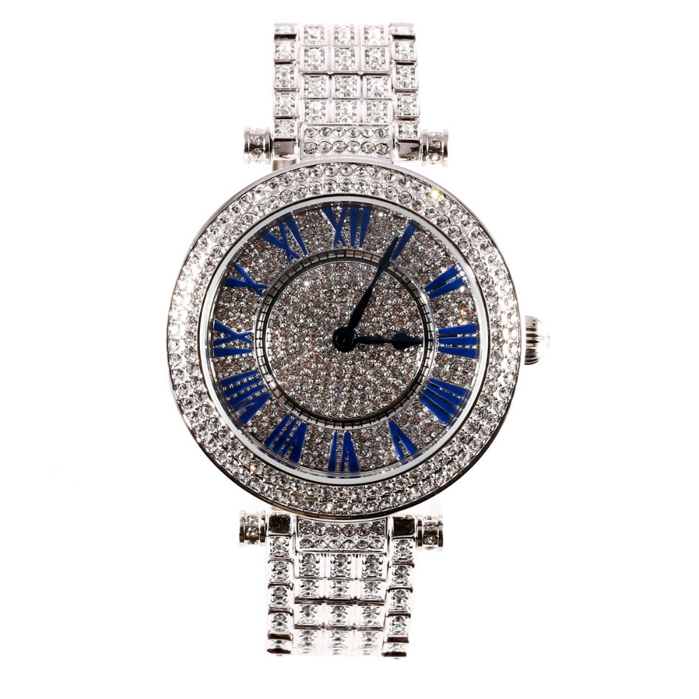 MATISSE Fashion Full Austria Crystal Rotatable Dial Steel Strap Buiness Quartz Watch Wristwatch - Blue jubaoli rotatable bezel male watch quartz leather strap wristwatch