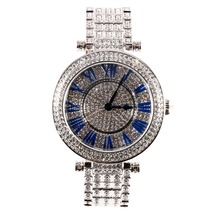MATISSE Fashion Full Austria Crystal Rotatable Dial Steel Strap Buiness Quartz Watch Wristwatch – Blue