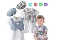 2016 Baby Boy Rompers Gentleman Stylish Bow Tie Cotton Short Sleeved Color Plaid Vest Infant Toddler