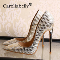 Carollabelly women high heels women pumps stiletto thin heel women shoes silver pointed toe high heel party wedding shoes