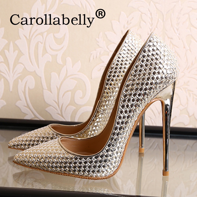 Carollabelly women high heels women pumps stiletto thin heel women shoes silver pointed toe high heel party wedding shoes 2018 new women pvc high heels thin heel flower print pumps party shoes thin heel point toe pumps dress shoes wedding shoes