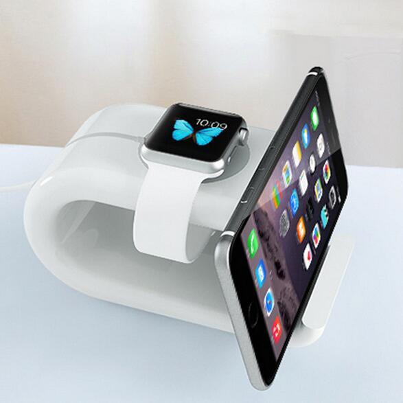 3016c7506f5 Reloj de la Caja Del Sostenedor para iWatch 7 iPhone 6 S 6 Plus 5S SÍ 5 4S  Tabletas de Carga Pad Teléfono soporte de Pantalla de Escritorio cuna  cuerpo de ...