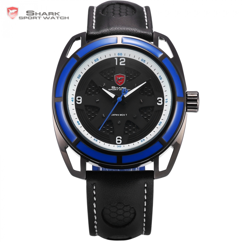 New Shark Sport Watch Tag Waterproof Blue Case Black Dial Fashion Clock Black Leather Band Analog 6 Hands Quartz Watch / SH474New Shark Sport Watch Tag Waterproof Blue Case Black Dial Fashion Clock Black Leather Band Analog 6 Hands Quartz Watch / SH474