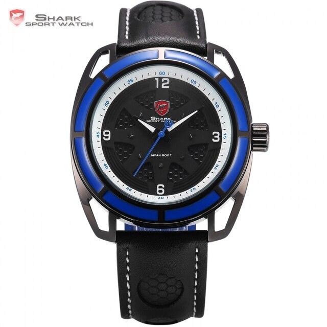 Sport Mains Montre Cadran Mode À Bleu Horloge Cuir Boîtier Étanche En Bande Analogique Noir 6 Tag Requin Nouveau Quartzsh474 c3JuF15TKl
