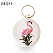 ФОТО BEARBERRY   style Flamingo embroidery evening clutch bags round shaped evening bags with chain wedding bag drop