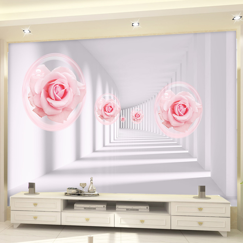 Custom 3D Wall Mural Wallpaper European Style 3D Pink Roses Living Room Sofa Bedroom TV Background Wall Home Decoration murals spring abundant flowers rich large mural wallpaper living room bedroom wallpaper painting tv background wall 3d wallpaper