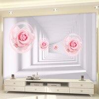 Custom 3D Wall Mural Wallpaper European Style 3D Pink Roses Living Room Sofa Bedroom TV Background