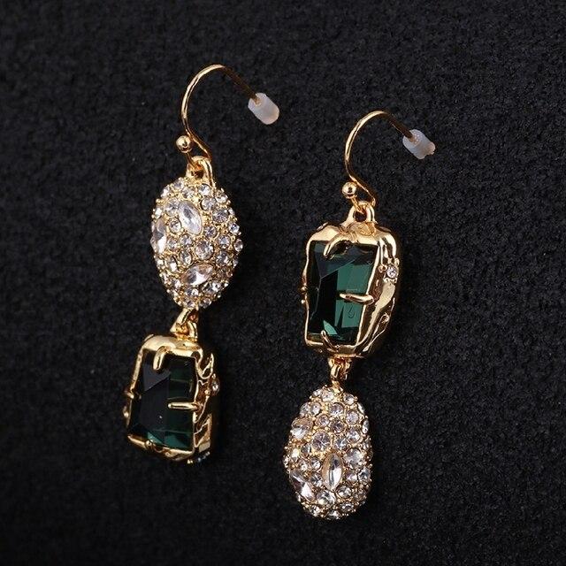 2019 Trendy CZ stones  /Crystal Studded Irregular Green Gem Gold Asymmetrical Copper Alloy long dangle Women Earrings