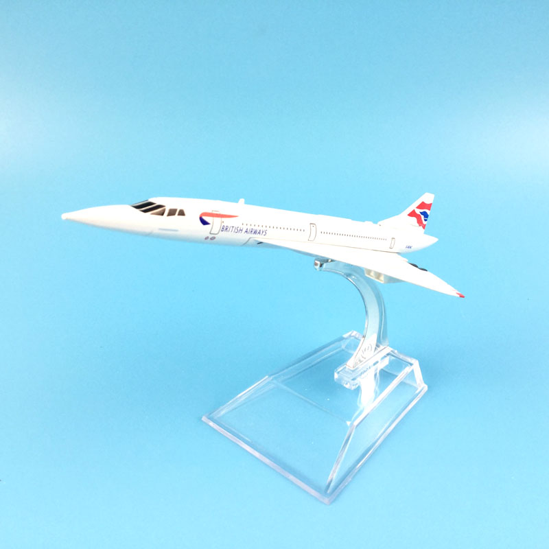 FREE SHIPPING 16cm Alloy Metal Model Plane BRITISH AIRWAYS CONCORDE Model W Stand Aircra ...