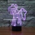 Criativo My Little Pony Night Light Table lamp LED 3D Luz Da Noite Acrílico Colorido Gradiente Atmosfera Bebê Toque Lâmpadas de Iluminação