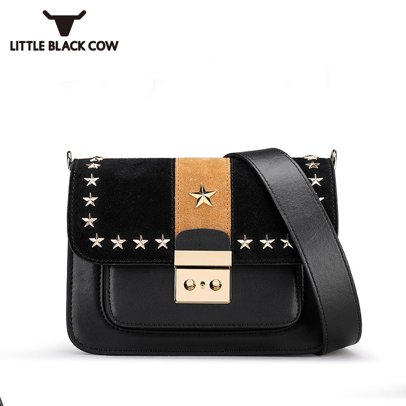 New Brand Casual Small Flap Messenger Bag Female High Quality Rivets Leather Shoulder Bags Black Square Crossbody Bag Women 2018 2017 summer metal ring women s messenger bags solid scrub leather women shoulder bag small flap bag casual girl crossbody bags
