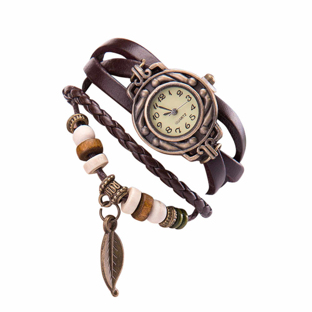 Women Girl Watches, Retro Style Bracelet Wristwatche leaf Pendant  montre femme zegarek damski reloj mujer ч bayan saat relgios