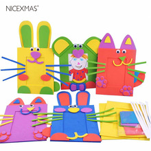 Cartoon Photo Frame Handmade Material Bag Crafting DIY Supplies for Kids Children (Random Color, Random Pattern) 1PCS