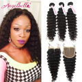 Angelbella Hair Brazilian Deep Wave Virgin Bundles with Closure 3pcs Weft&1pc Closure Cheap Brazilian Deep Curly Hair Deals