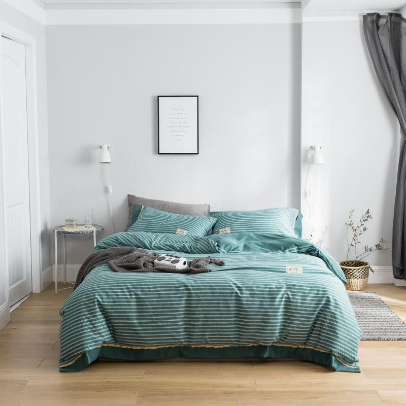 Bedding Set Tencel Silk Comforter Bedding Sets Bed Set Various Size Pillowcases Duvet Cover Bed Sheet Green Pinstripe Lynn