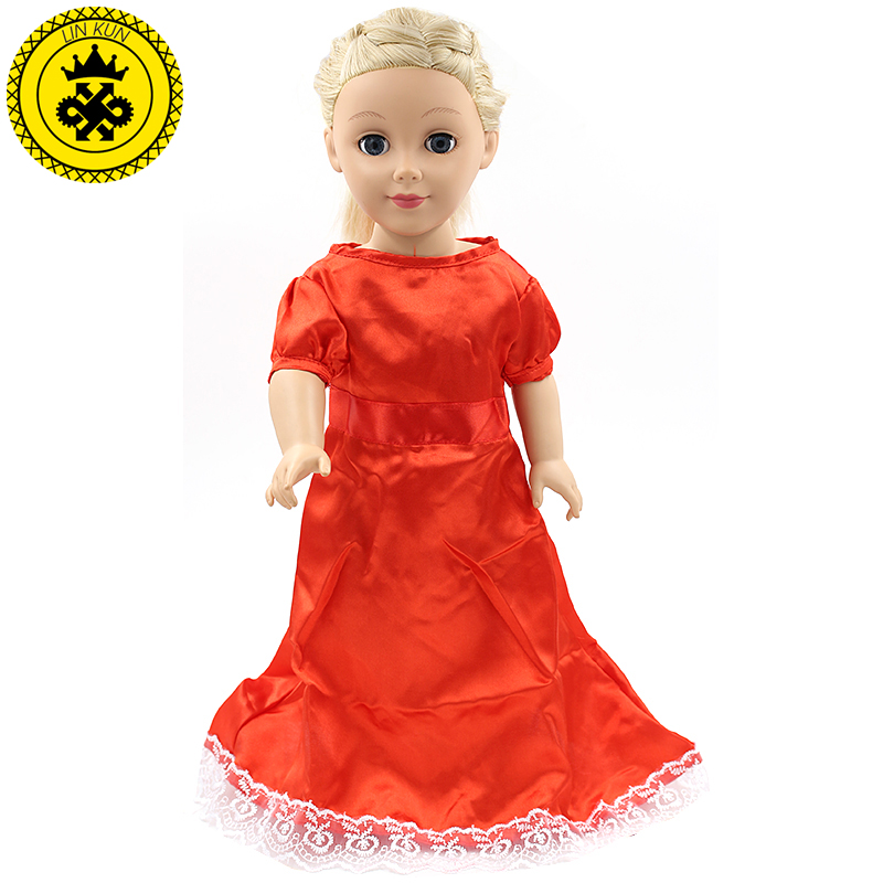 American Girl Doll Clothes Elegant Red Long Dress For 18 Inch American Doll Girl Flower Best Gift Dolls Accessories MG-037 handmad 18 inch american girl doll clothes princess anna dress fits 18 american girl doll mg 032