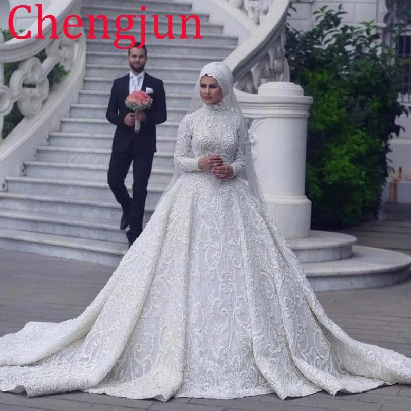 Chengjun Modern Muslim Jilbab Lengan Panjang Tinggi Leher Bahasa Swedia Pernikahan Gaun Wedding Dresses Aliexpress