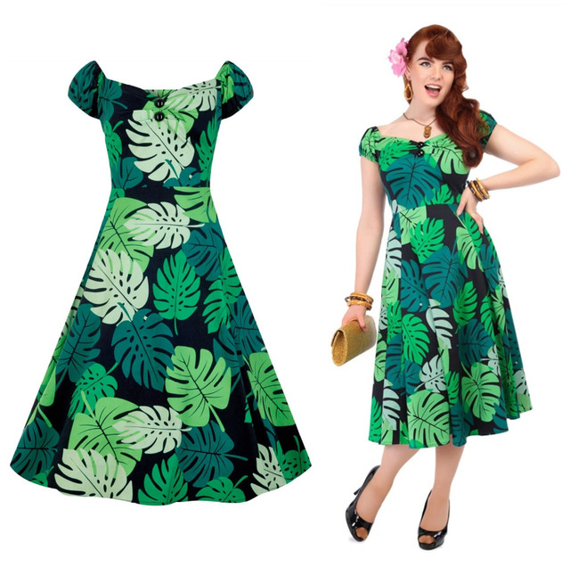 30- summer women vintage 50s tropical Tahiti Palm dolores swing dress in  green plus size doll dresses rockabilly pinup jurken 42365b0d0078