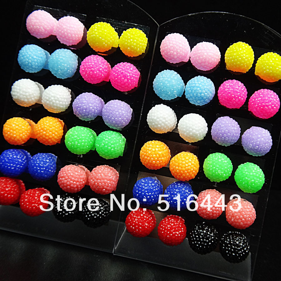 A-568  96pcs Mix Color Crystal Resin Ball Stainless steel Fashion Stud Earrings Free Shipping Wholesale Jewelry