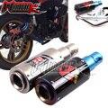Desempenho da motocicleta tubo de escape de aço inoxidável de tubo de fibra de carbono titanium metade azul carro esportivo com o deslocamento de grande porte