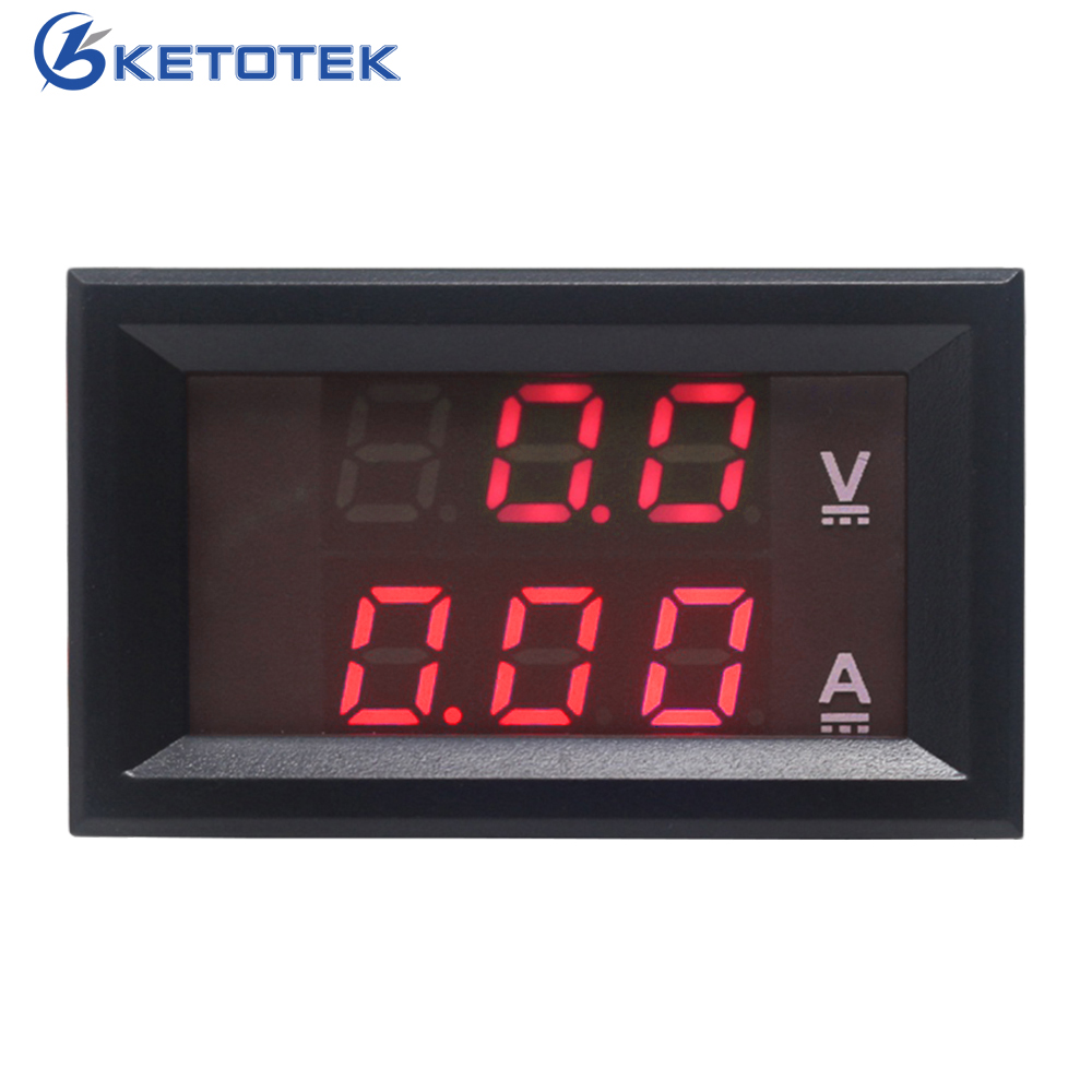 DC 0-100V/10A Red Blue LED Display Digital Car Voltmeter Ammeter Voltage Meter Ampermeter 3 in 1 multifunctional car digital voltmeter usb car charger led battery dc voltmeter thermometer temperature meter sensor