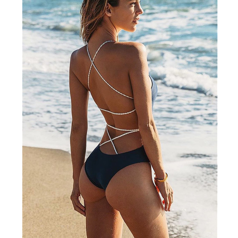 one piece swimsuit 2019 Summer Blue Black Sexy Cross Halter Swimwear Women Solid Bathing Suits Beach Wear Swim Backless Swimsuit in Body Suits from Sports Entertainment
