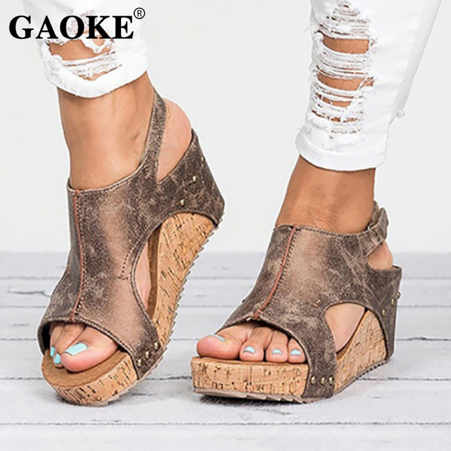 2068f1cf750217 Gladiator Sandals Platform Women Wedges Shoes Female Summer Trifle Open Toe  High Black Flip Flops Slipper Size 43 Female Slides