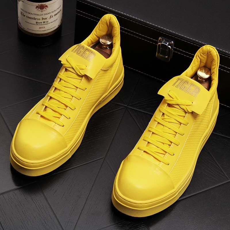 ERRFC Men s fashion casual shoes breathable man yellow platform leisure shoes youth man trending hip