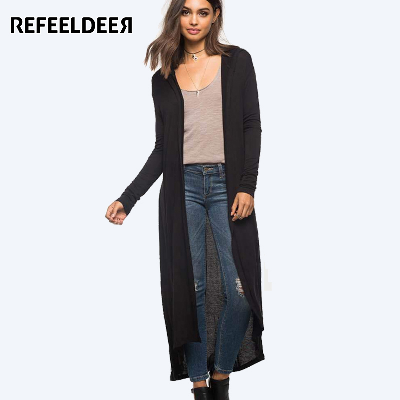 Refeeldeer Hooded Long Cardigan Women 2017 Spring Autumn New Casual Big Size Long Sleeve Cardigan Female Black Army Green Blouse