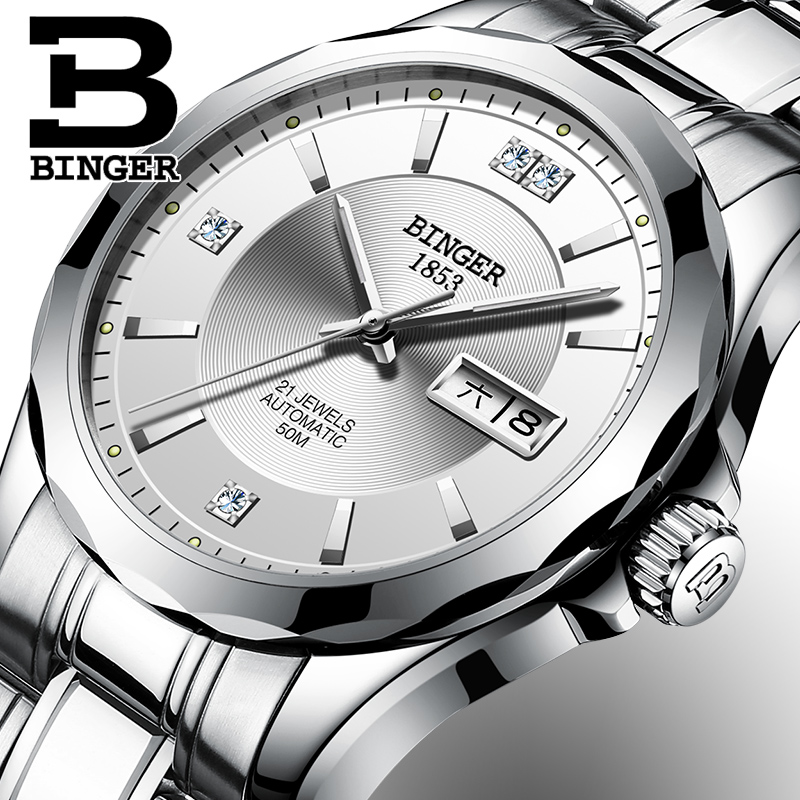 Japan Automatic Mechanical Movement BINGER Top Luxury Brand Watch Men Wrist Sapphire Waterproof Full Steel relogio masculino