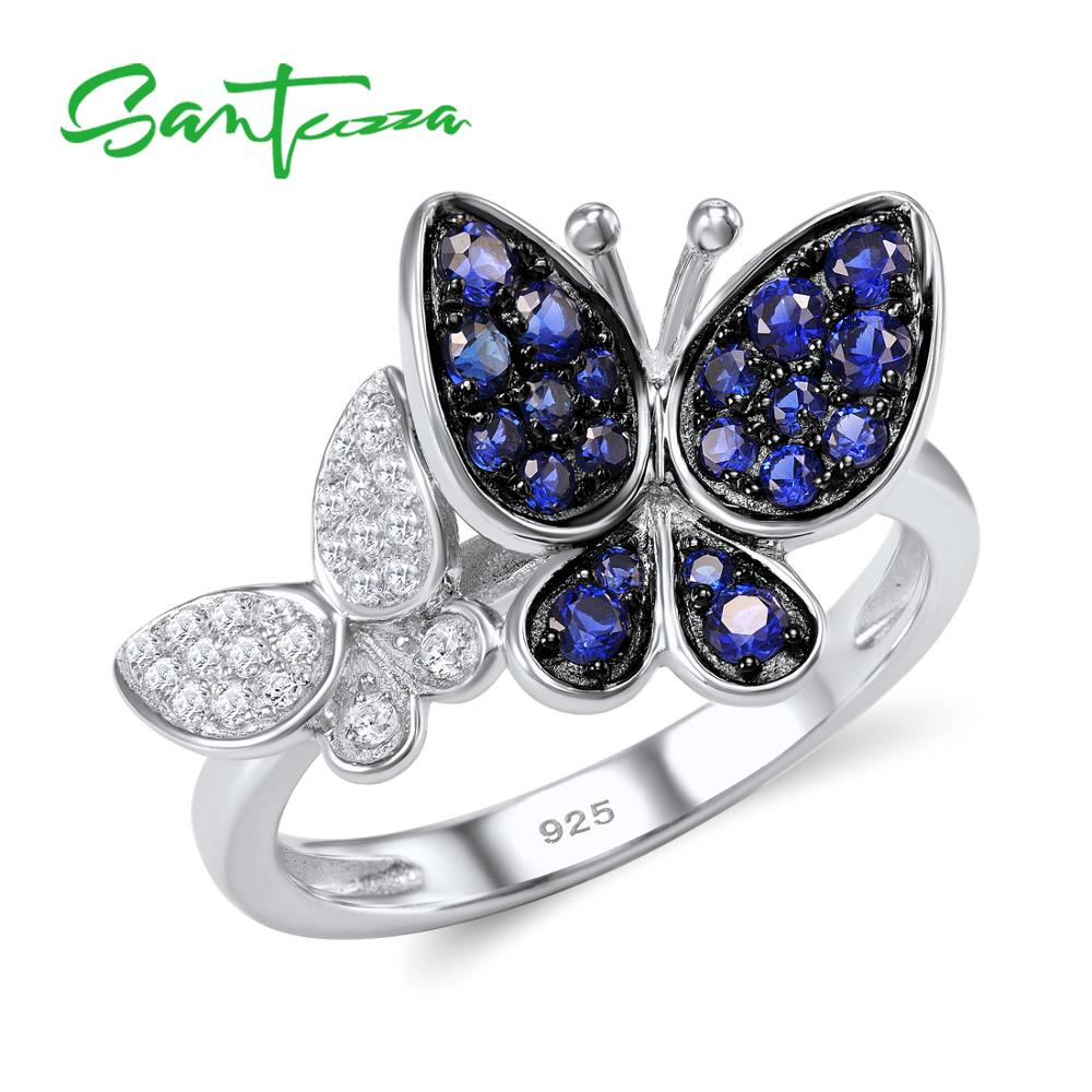 SANTUZZA Silver Butterfly Ring For Women 925 Sterling Silver Fashion Rings for Women 2017 Cubic Zirconia Ringen Party Jewelry
