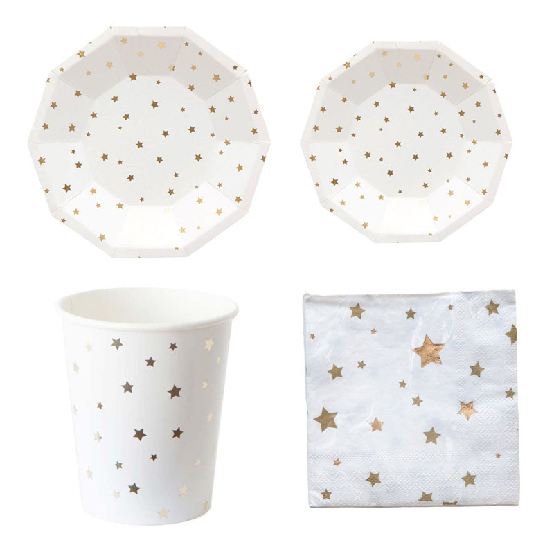 Metallic Star Moon Disposable Tableware Set Paper Plates Cups Napkins for Birthday Bridal Shower Children Party Decoration Xmas