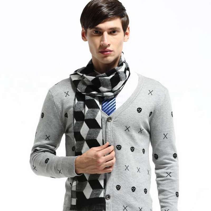 Fashion Rhombus Jacquard Scarfs For Men Winter Autumn Cotton Warm font b Tartan b font Scarves
