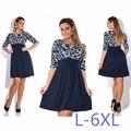 5XL 6XL Большой Размер 2017 Весна Лето Осень Dress Большой Size Printed Dress Повседневная Лоскутная Свободные Dress Плюс Размер Женщин одежда