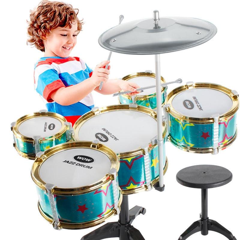 Surwish enfants jouet Jazz tambour ensemble début éducatif Instrument de musique jouet Playset avec tambour cymbale Stand tabouret pilons