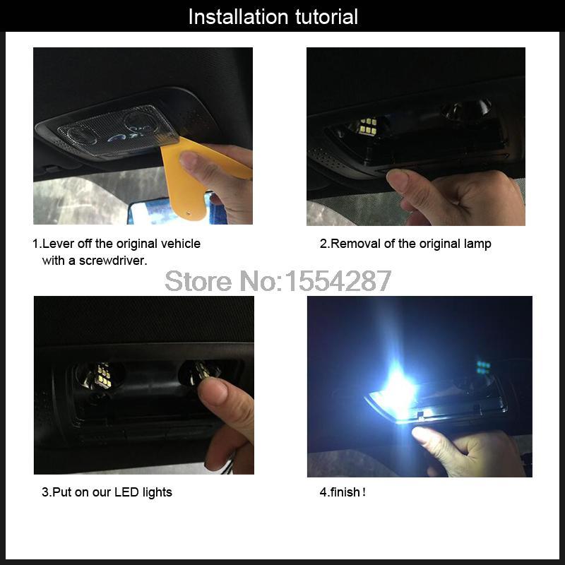 2pcs direct fit White Error Free LED Vanity Mirror Lights For BMW 3 5 Series X1 X3 X5 X6 E60 E61 E90 E91 E92 E70 E71 E84