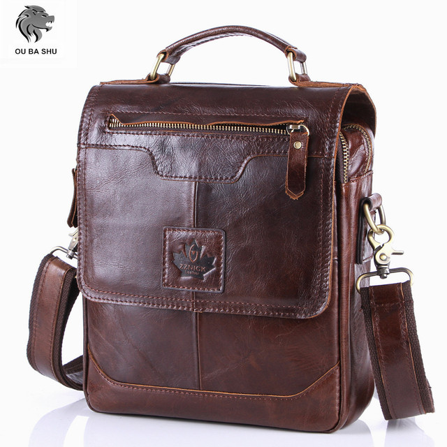 OU BA SHU 2016 Men's Business Bag Brand Genuine Leather Male Vintage Shoulder Bags Luxury Leather Handbag Men Crossbody Bag