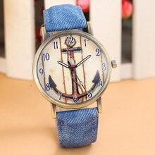 Casual Relojes Mujer Women's Watch Retro Anchors Vogue WristWatch Cowboy Leather Band Analog Quartz Watch Relogio Feminino