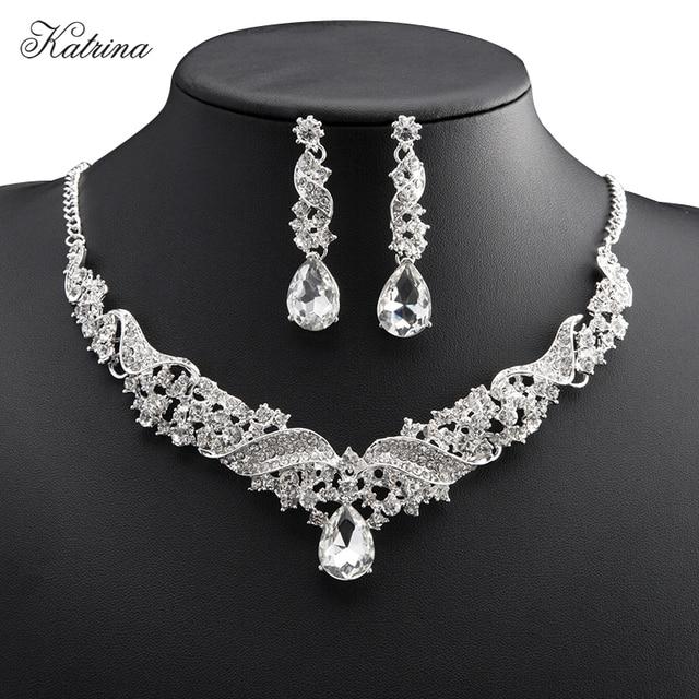 f1fc3709883e Nuevo estilo Europeo novia Aretes Collar Conjunto Joyería de la boda  accesorios para el cabello para