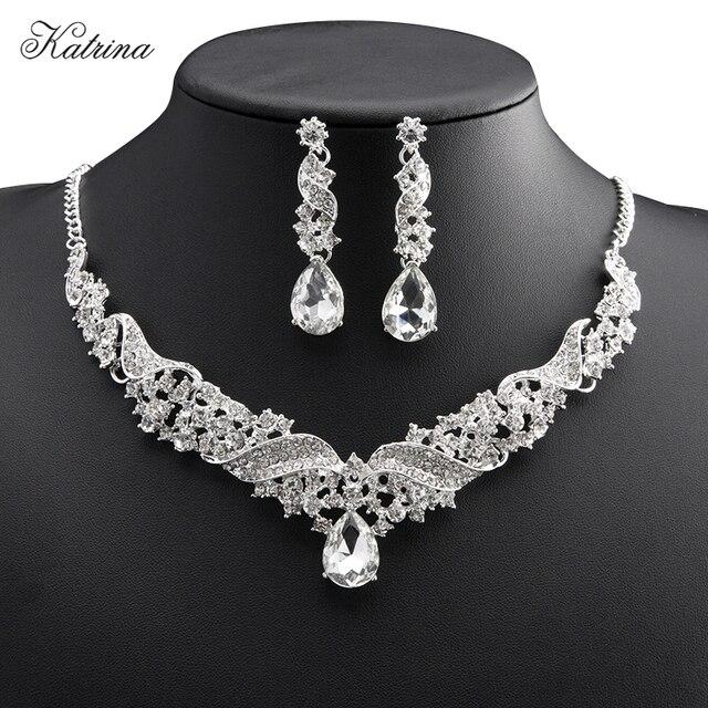 new european style bride necklace earrings imitation jewelry set