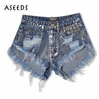 2017 Summer Women Jeans Shorts With High Waist Vintage Punk Sliver Rivet Ripped Jeans Denim Short