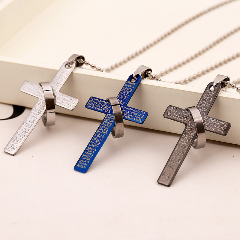 NEW Fashion Stainless Steel Pendant Christian Bible Prayer Cross Pendant Men Necklace Charming Gifts Jewelry Gifts 2018
