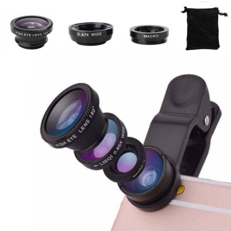 Universal 3 In 1 Clip Wide Angle Macro Fisheye Lens Camera 0.67x for iPhone Samsung All Cell Phones Kit ojo de pez para movil