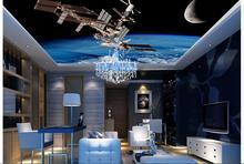 ภาพที่กำหนดเอง3dวอลล์เปเปอร์ไม่ทอรูปภาพสติกเกอร์ติดผนัง3 dกระสวยอวกาศภาพจิตรกรรมฝาผนังเพดานตกแต่งภาพวาด