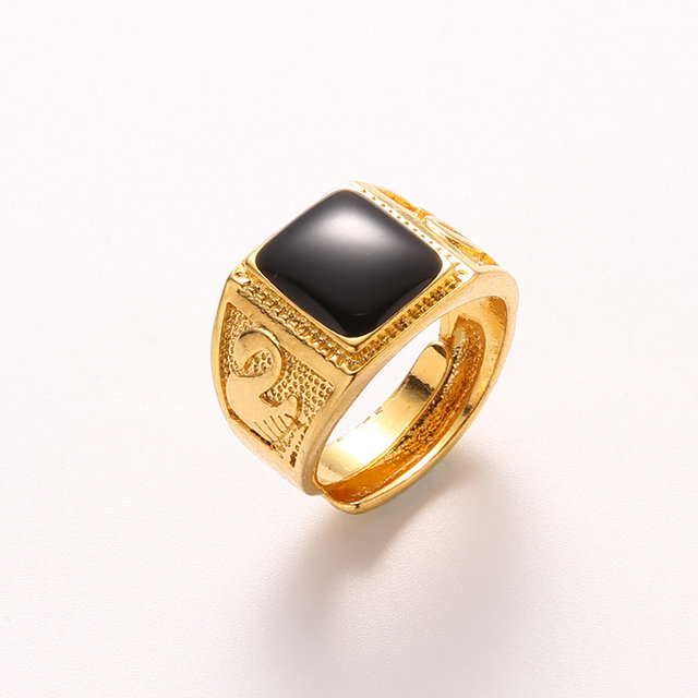 line Shop New Free Size Black Square Gem Gold Ring Men Jewelry