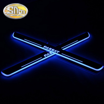 SNCN 4PCS Acrylic Moving LED Welcome Pedal Car Scuff Plate Pedal Door Sill Pathway Light For Volkswagen VW Passat 2016 2017 2018 sncn 4pcs acrylic moving led welcome pedal car scuff plate pedal door sill pathway light for kia sportage 2015 2016 2017 2018
